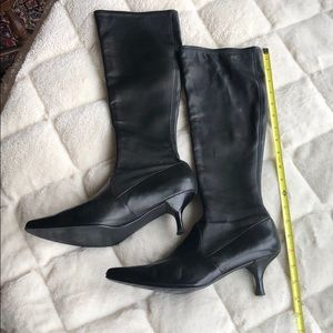 Stuart Weizmann black leather knee high boots